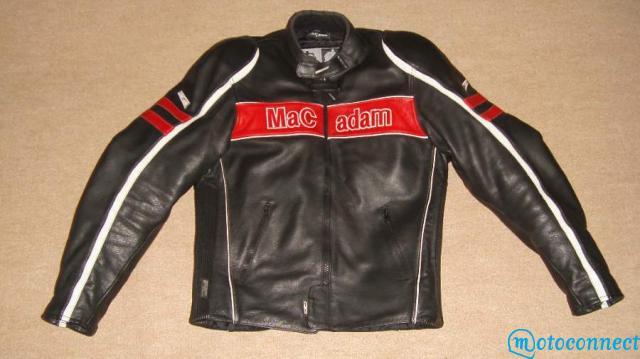 blouson moto cuir rouge et noir marque mac adam. Black Bedroom Furniture Sets. Home Design Ideas